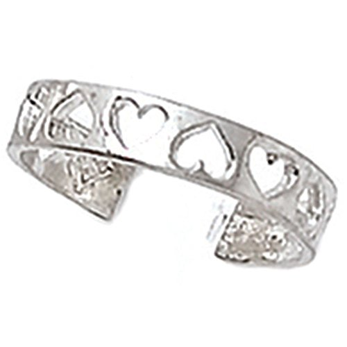 Finejewelers Sterling Silver Rhodium Finish Toe Ring Cutout -