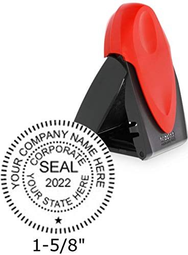 Trodat Mobile Printy Company Stamp Seal with Self Inking Ability, 1.6 x 1.6 Inches, Red, 1 Count - Stamps Corporate