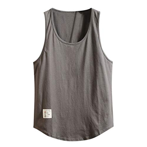 Bsjmlxg Men Loose Solid Sleeveless Training Quick-Dry Sports Tank Top Shirt for Gym Fitness Bodybuilding Running Jogging Dark Gray