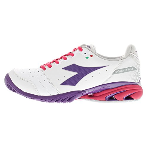 Women`s S Star K III AG Tennis Shoes White and Violet Helium