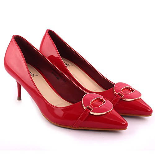 Tamaño Medio Toe 8 Rojo Party 'reigning' Mujeres Carnaval together Zapatos Talón Pointy Get Señoras Bajo 3 Dinner Evening Unze Corte WIwaYAq1