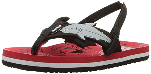 Reef Boys' Ahi Shark Sandal, Red Shark, 5-6 Medium US Toddler - 6 Fusion Red