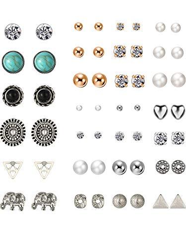 TOODOO 27 Pairs Multiple Stud Earrings Set Cute Vintage Earrings for Girls Women Men (Silver and Gold)