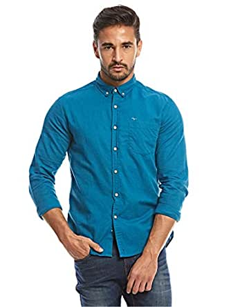 Flying Machine Teal Blue Shirt Neck Shirts For Men