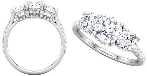 Platinum 3 Stone Round Diamond Semi-Mount Engagement Ring+Matching Diamond Band