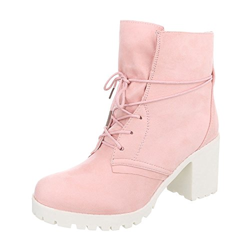 Heel Up Ankle Pink Design Ital Block Boots 1 A Boots 67 Lace Women's AnIACqTx