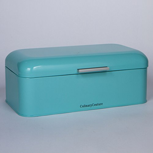 Large Aqua Sky Bread Box, Powder Coated Stainless Steel | Extra Large Bin for Loaves, Bagels & More: 16.5