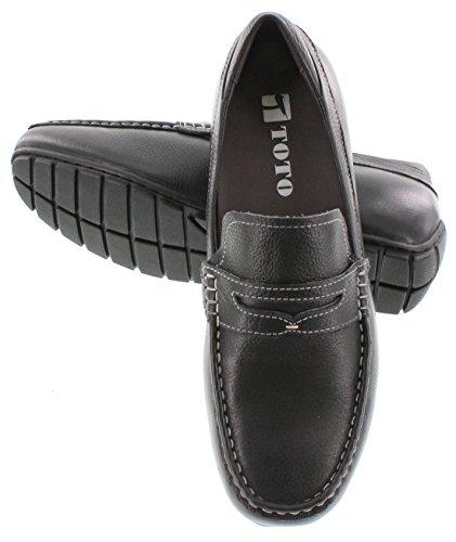 Toto H3210-2,4 Pollici Più Alto - Scarpe Per Ascensore Con Altezza Crescente (slip-on In Pelle Nera)