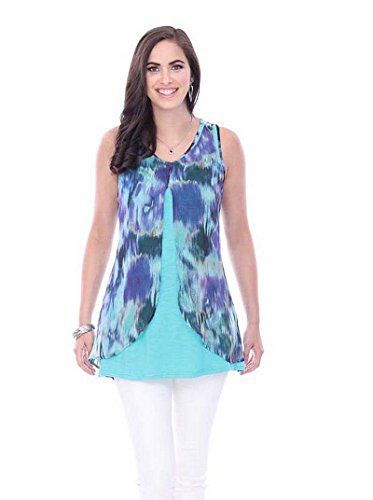 Parsley & Sage Women's Water Lily Sleeveless Tunic Top (Sage Lilies)