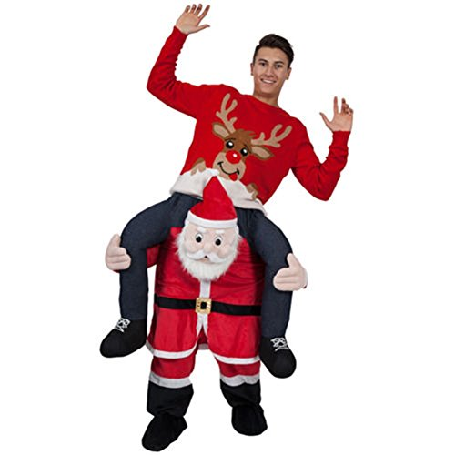 [2016 Carry Me Baby Rider Adult Costumes Riding on Shoulder Best Costume Party Festival Christmas Fancy Dress (Red Santa] (Carry Me Ride On Costume)