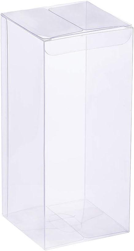 BENECREAT 20 Pack PVC Caja Transparente de Embalaje 7x7x16cm Cajita Plástica Envase de Regalo Contenedor de Dulce Chocolate para Boda Fiesta Cumpleaños