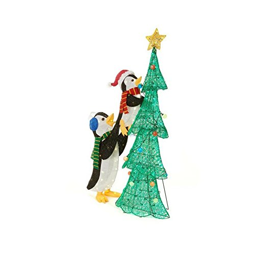 62 in. LED Lighted Tinsel Penguins with Tree by Home Accents Holiday