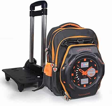 HXZB 16 Inch Primary School Large Capacity Trolley Bag Three Round Climbing  Stairs Relief Watch Children f90e8ec901b96