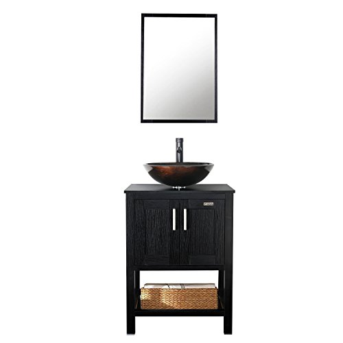 Eclife 24'' Modern Bathroom Vanity Cabinet Combo Round Glass Vessel Sink Combo 1.5 GPM Brass Faucet and Pop Up Drain and ORB Mounting Ring A01B6 -