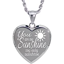 You are my Sunshine my only Sunshine necklace - Engrave Personal Message On The Back
