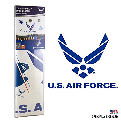 UNITED STATES AIR FORCE DECALS - 6 Piece Officially Licensed Military Dcor Stickers for Walls and Rooms - Large Military Decals from 3 to 19 Inches - US Military Decals Look Great On Walls