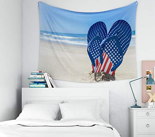 Douecish Wall Tapestry Hanging, Decoration Patriotic USA Background Flip Flops The Sandy Beach for Bedroom Living Room Decor Wall Hanging Tapestry 60X50 inches