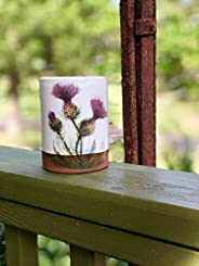 Handmade Pottery Tumbler with Thistle and Honeybee
