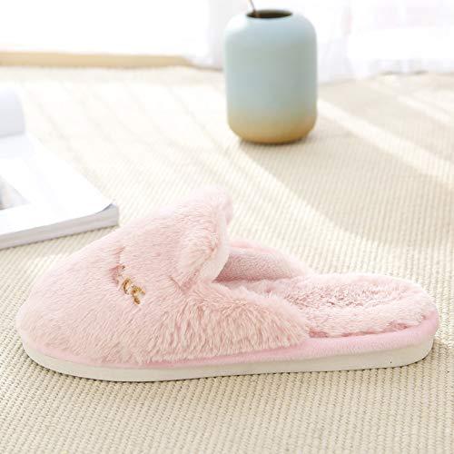 In 39 Antiscivolo Donna Stile Invernale Pantofole Morbido 38 Scarpe Rosa Westeng Adorabile Caldo Coniglio Di Per Cotone Indoor 5pUn6w