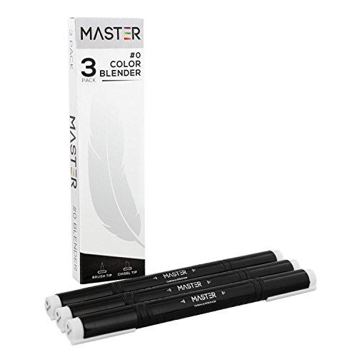 (Master Markers Dual Tip Artist Blender Illustration Markers (Pack of 3) - Chisel/Brush Tip, Rubber Comfort Grip and Plastic Carry Case)