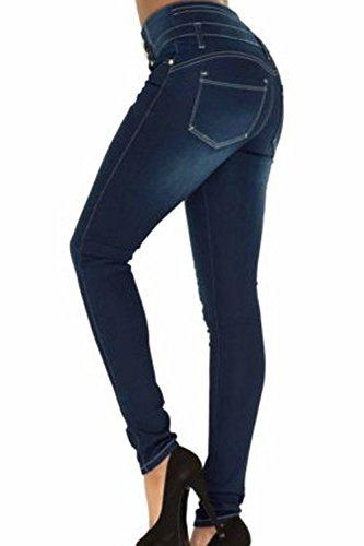 Skinny Le Yacun Bodycon Jeans Blue Vita Alte Caviglia Donne rInTnd