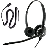 Cisco 7985 8941 8945 8961 9951 9971 Cius CTS500 Professional Binaural Noise Cancel Mic Phone Headset with Plantronics compatible QD for Call Center