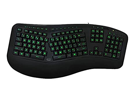 Adesso AKB-150EB - 3-Color Illuminated Backlit Large Print Ergonomic  Keyboard, Wired, Multimedia Hotkeys, Split Keys Design, Built-in Palm Rest  for