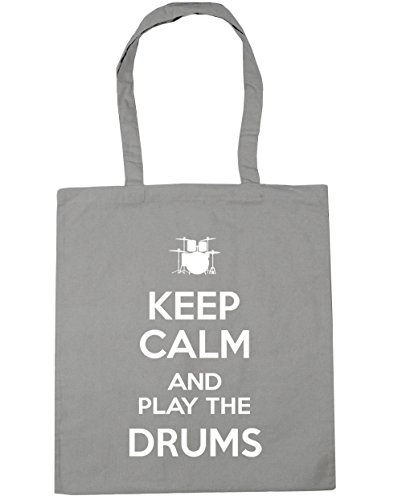 Tote and the Grey 10 HippoWarehouse Gym Bag Keep Calm 42cm Light Drums Shopping Beach litres Play x38cm 4wqEYx