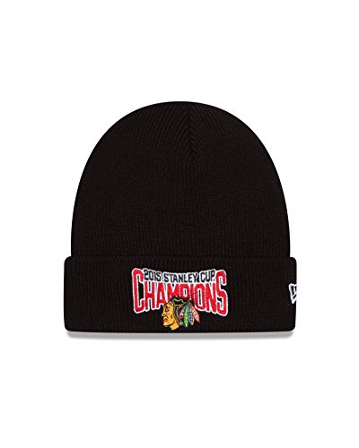 Toque New Era (New Era NHL Chicago Blackhawks Stanley Cup Champions Cuff Knit Beanie, One Size, Black)