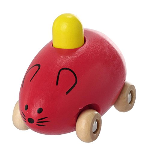 Cat Rules Number (YJYdada Fashion Smart Gift Kids Child Baby Cute Mice Squeak Wooden Toy Car New (Red))