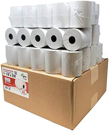 BuyRegisterRolls (50 Rolls) 3 1/8 x 230 (48 GSM Paper Thickness) BPA Free Premium A Grade POS Thermal Receipt Printer Paper