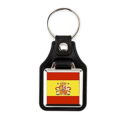 Llavero Bandera de España | Llavero cuadrado Bandera España | Llavero elegante | Llavero fabricado en piél sintética /polipiel Bandera de España (1 ...