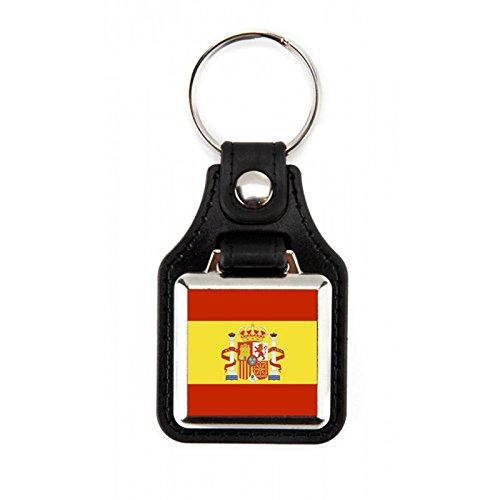 Llavero Bandera de España   Llavero cuadrado Bandera España   Llavero elegante   Llavero fabricado en piél sintética /polipiel Bandera de España (1 ...