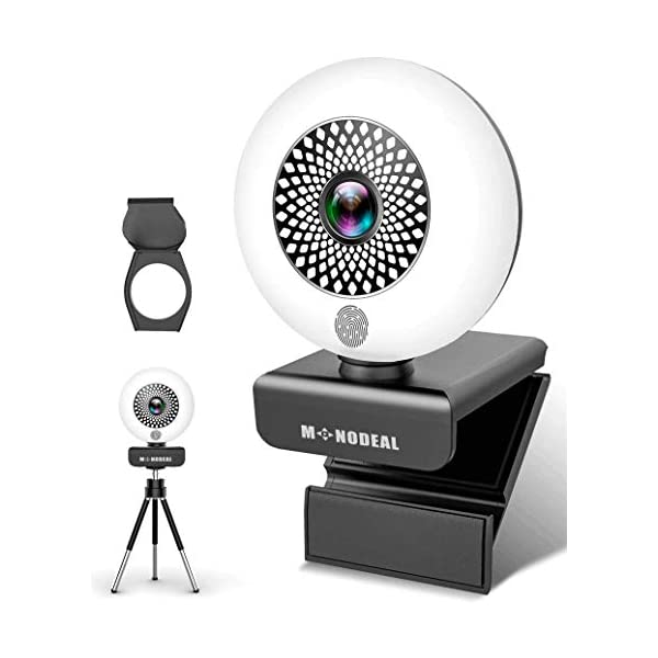 Web Cameras for Computers MONODEAL 2K Ultra HD Webcam with Microphone PC Webcam with Ring Light Autofocus