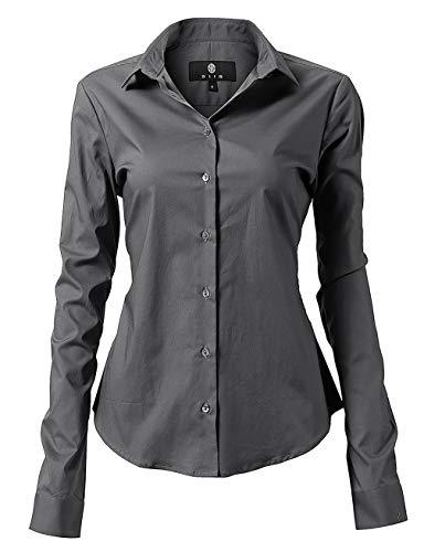 Dress Cotton Shirt Grays - diig Women Dress Shirt - Long Sleeve Cotton Button Down Blouse, Gray 16