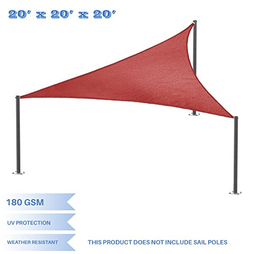 E K Sunrise 20 x20 x20 Red Equilateral Triangle Sun Shade Sail Outdoor Shade Cloth UV Block Fabric