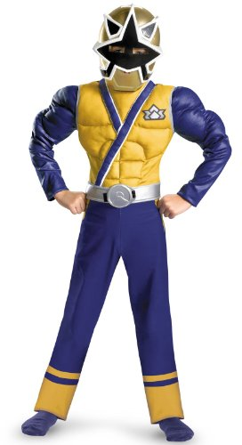 Saban'S Power Rangers Samurai Gold Ranger Classic Muscle Costume, Blue/Gold/Silver, 4 - 6 (child boy)
