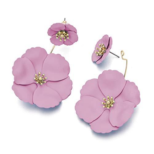 Metal Matte Dual Flower Petal Tiered Earrings Pierced Garden Party Drop Dangle Earrings For Women ()