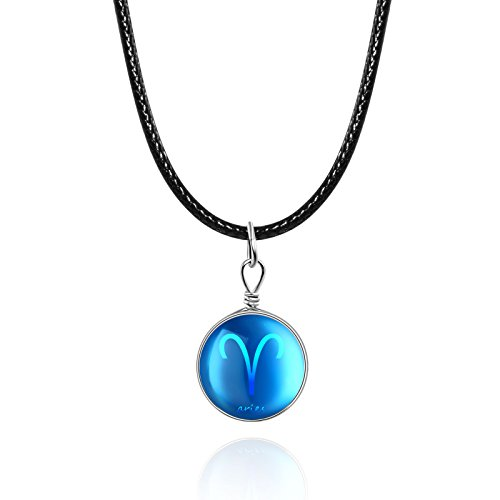 Price comparison product image Aries Time Gem Pendant with Black Leather Cord Rope Necklace for Girls women(Aries)