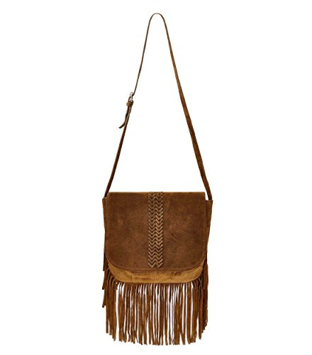 - ZLYC Women Bohemian Nubuck Leather Fringe Bag Pouch Tribal Tassel Cross Body Shoulder Bag, Brown