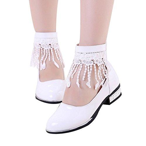 Cystyle Festlich Mädchen Studenten Ballerinas schuhe Tanzschuhe Kinder Prinzessin Studenten Lederschuhe Weiß