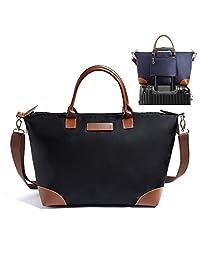 "BEKILOLE Spacious Travel Duffle Bag Tote Shoulder Bag Carry Luggage Folding Crossbody Shopping Bag Weather Resistant 22""-Black,Large"