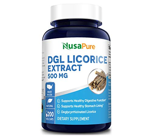 DGL Licorice Extract 500mg 200 Vegetarian Capsules (Non-GMO & Gluten Free) - Supports Digestive & Respiratory Function