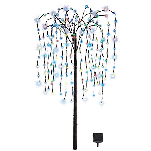 Collections Etc. LED Solar Willow Tree, Outdoor Solar Tree with Colorful Solar-Powered Lights with Adjustable Branches, Multi Color - Iron Birdbath Wrought Glass