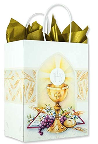 First Communion Gift Bag with Bread of Life Chalice Image for Boys or -