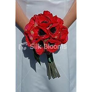 Luxury Beautiful Red Anemone Poppy Handtied Silk Bridal Bouquet 25