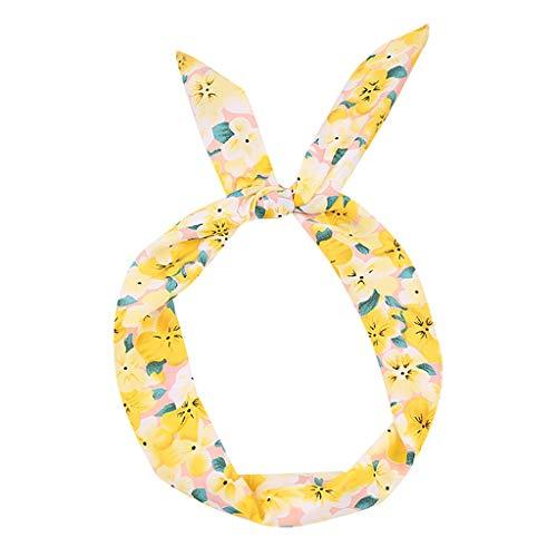 Headbands,Rockabilly Wired Hairband Hoop Sweet Girls Retro Scarf Hair Accessories for Women (Yellow)