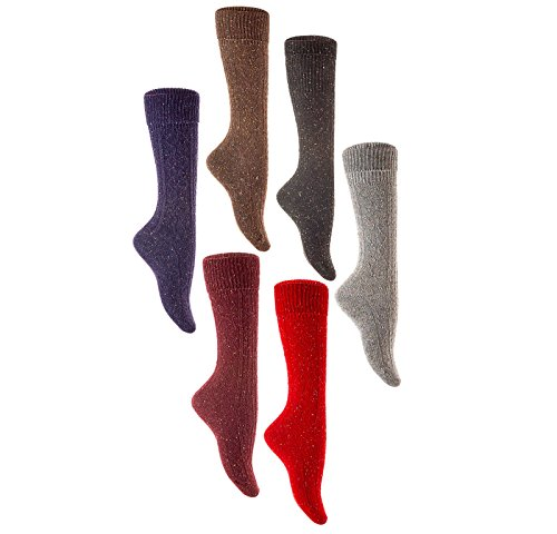 Lian LifeStyle Womens 6 Pairs Pack High Crew Wool Boot Socks Size 7-9 6 Colors