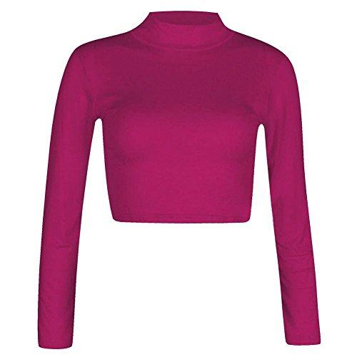 Janisramone cuello del polo mujeres tortuga manga larga blusa entallada t camisa tamaño 8-14 Cerise