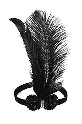 PrettyGuide Women 20s Art Deco Bead Feather Headpiece Flapper Headband